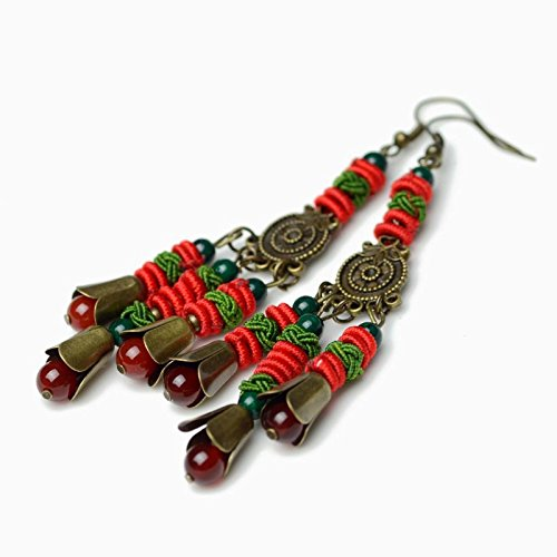 (National Wind earrings vintage bronze Chinese knot China Wind earrings earrings women girls long section court 02087 )