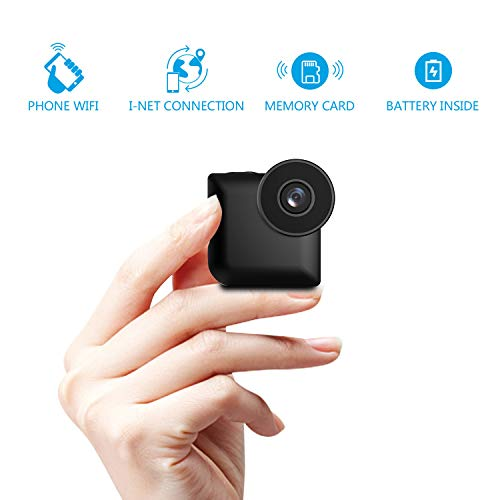 Mini Spy Hidden Camera Portable Small Mini Nanny Cam Battery Powered USB 1080P HD WiFi Cameras with SD Card Motion Detection and Night Vision Phone App Smallest Indoor Inspection System with SD Card
