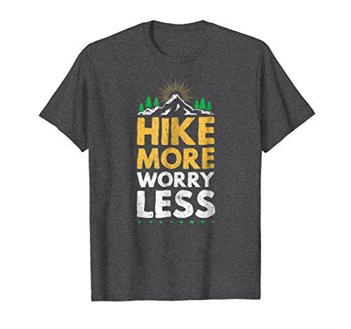 Mens hike more worry less hiker hiking mountain t-shirt Large Dark Heather -