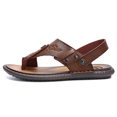 Flat Sandals for Men 2019 Summer Non-Slip Light Weight Beach Thong Slippers (US:9, Khaki)
