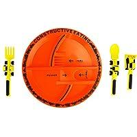 Placa constructiva para comer con juego de utensilios de construcción para niños pequeños, bebés, bebés y niños: los juguetes cubiertos están fabricados en los EE. UU. Con materiales aprobados por la FDA para una alimentación segura y divertida