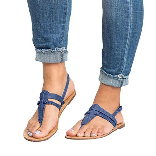 WEISUN Flip Flops Womens Fashion Flat Sandals Flip Flops Beach Shoes Open Toe Ankle Bottom Roman Sandals Blue