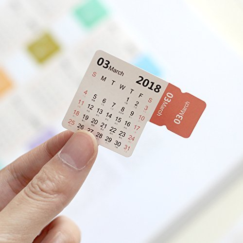 2018 Calendars Stickers Self Stick Monthly Index Tabs Lable Marker Notes Page Diciders Self Adhesive for Bullet Journal/Planner/Agenda,4 Sets Assorted Color