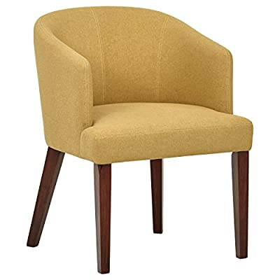 "Amazon Brand – Rivet Alfred Mid-Century Modern Wide Curved Back Accent Kitchen Dining Room Chair, 25.2""W, Canary Yellow - This classic mid-century modern accent chair features a wide curved back and armrest combined with simple tapered legs. Plenty of padding makes it sturdy and comfortable to use in the dining room or anywhere else extra seating is needed. 25.2W"" x 23.2""D x x31.9""H Fabric is 100% polyester. Hardwood legs with espresso finish. - kitchen-dining-room-furniture, kitchen-dining-room, kitchen-dining-room-chairs - 41%2Ba48nIOvL. SS400  -"