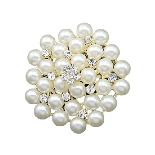 Large Pearl Brooch (Fullkang Hot New Large Fashion Drop Pendant Wedding Lady Pearl Rhinestone Brooch (Perle 4))