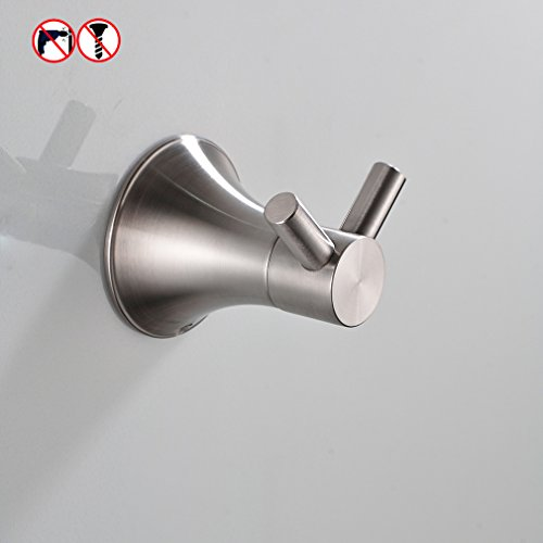 BESy Self Adhesive Double Clothes Hook Towel Bathrobe Coat Hook for Bath Kitchen Garage SUS304 Stainless Steel Hotel Style, Drill Free with Glue or Wall Mounted with Screws , Brushed Nickel Finish