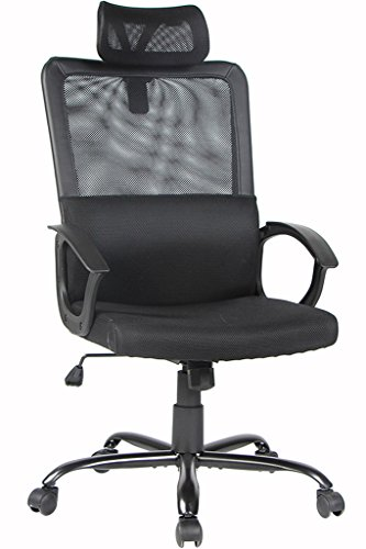 BONUM High-Back Office Chair Mesh Swivel Task Chair – Ergonomic Computer Desk Task Executive Chair with Padded Lumbar Support, Black