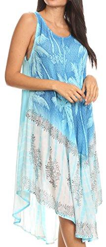 Wear Tropical Resort (Sakkas 17156 - Farzana Women Sleeveless Summer Caftan Midi Dress Tie-dye Light and Fresh - Turq - OS)