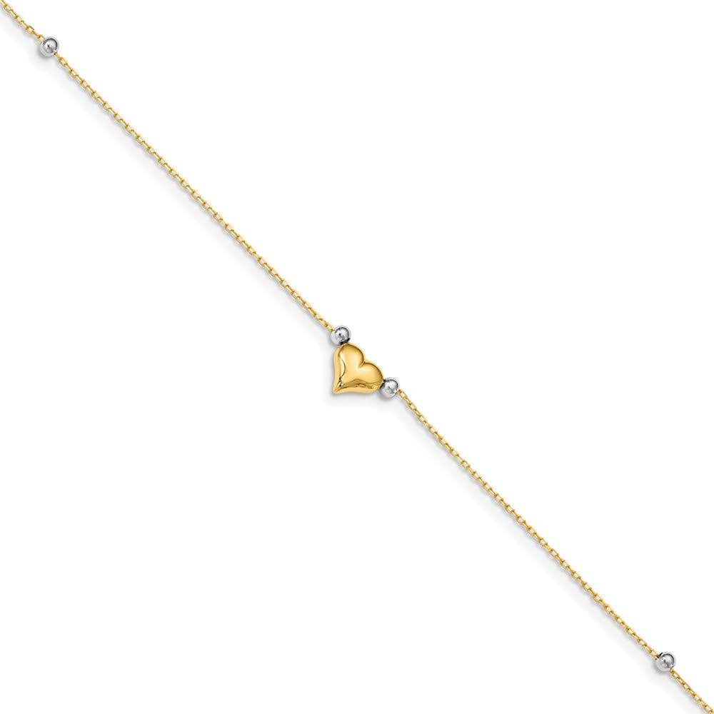 Black Bow Jewelry 14k Yellow and White Gold Puffed Heart and Bead Anklet, 10 Inch