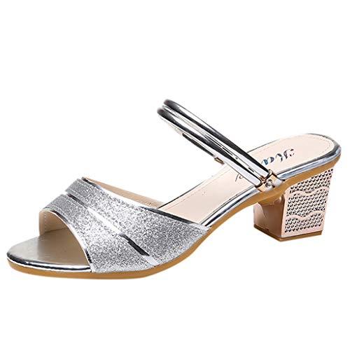Fastbot Women's Summer Sandals Open Toe Casual Comfort Womens Open-Toe High Heel Slippers Rhinestones Ladies Shoe Silver