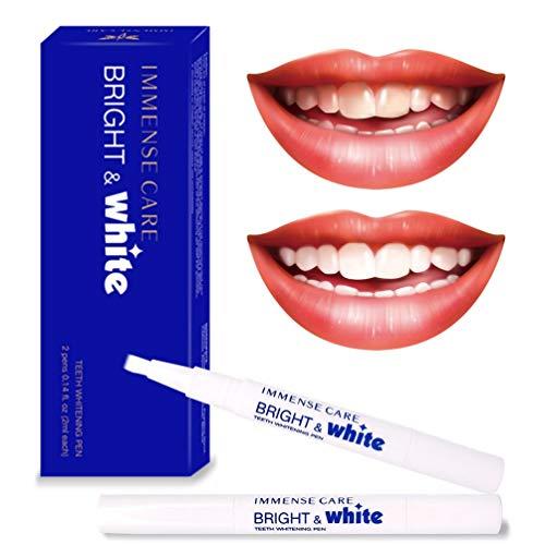 IMMENSE CARE Teeth Whitening Pen,35% Carbamide PeroxideGel, 2ml (2 packs) 20+ Uses, Effective,Non-Sensitive,Easy-to-Use, Bright White Smile