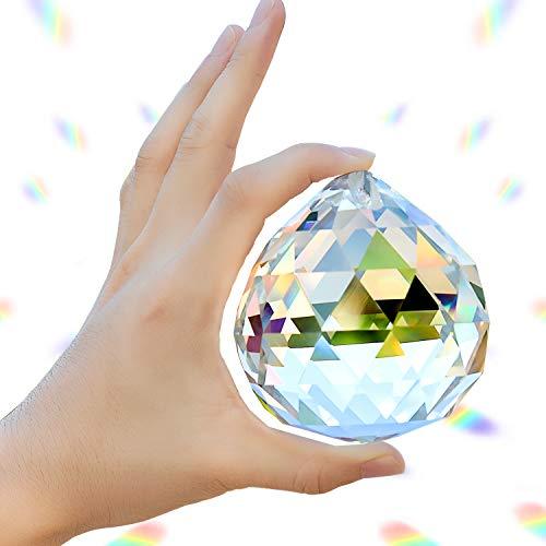 Adwikoso Crystal Ball Prism Pendant Glass Chandelier Hanging Pendant Feng Shui Suncatcher Wedding Home Window Décor (80mm/3.15in)