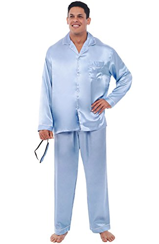 Del Rossa Mens Satin Pajamas, Long Button-Down Pj Set, 3XL Blue with White Piping (A0752BLU3X)