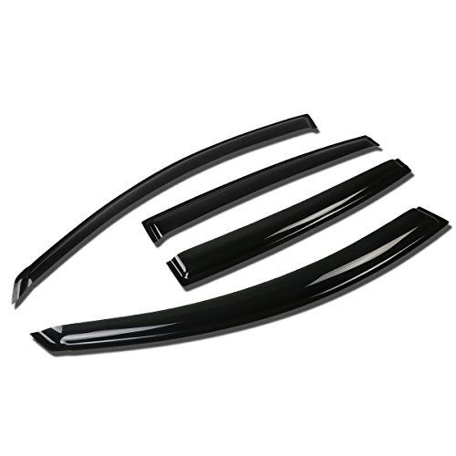 DNA MOTORING WVS-076 4pcs Window Vent Visor Deflector Rain Guard (Dark Smoke)