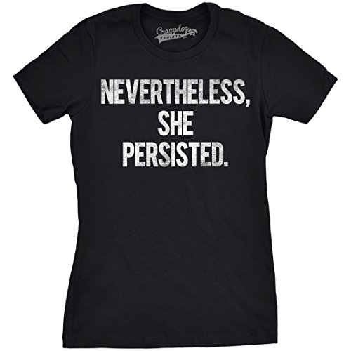 Crazy Dog T-Shirts Womens Nevertheless She Persisted Funny Political Congress Senate T Shirt (Black) - S