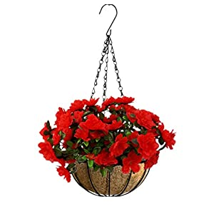 Mynse Artificial Flower Azalea Hanging Flower Pot with Chain for Home Market Outdoor Decoration Hanging Basket with Artificial Rhododendron Flowers Red (Small Basket) 55