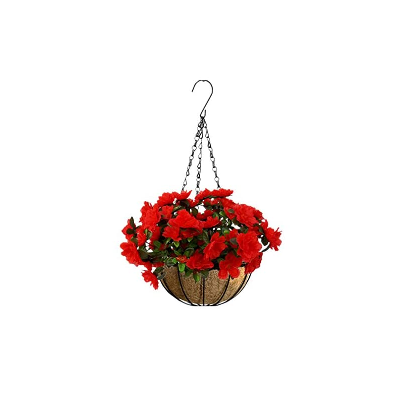 silk flower arrangements mynse artificial flower azalea hanging flower pot with chain for home market outdoor decoration hanging basket with artificial rhododendron flowers red (big red)