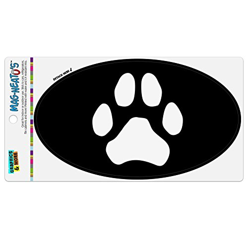 Refrigerator Print - Graphics and More Paw Print Dog Cat White on Black Automotive Car Refrigerator Locker Vinyl Euro Oval Magnet