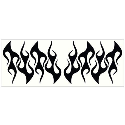 LiteMark Reflective Black 4 Inch Flames Sticker Decals for Helmets, Bicycles, Strollers, Wheelchairs and More - Pack of 8