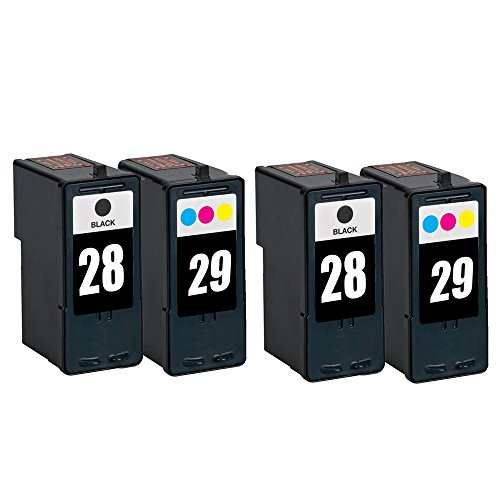 RIGHTINK 4 Pack(Black Tri-color)Remanufactured Ink Cartridge for Lexmark 28 29 Compatible with X2550 X5070 X5075 X5320 X5340 Printer