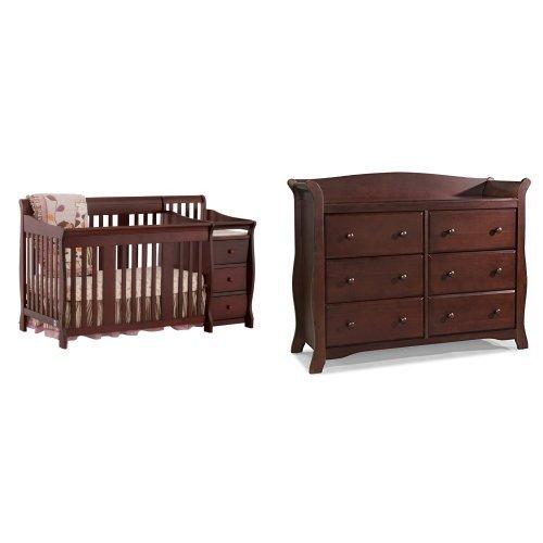 (Stork Craft Portofino 4 in 1 Fixed Side Convertible Crib Changer, Cherry and Avalon 6 Drawer Universal Dresser, Cherry)