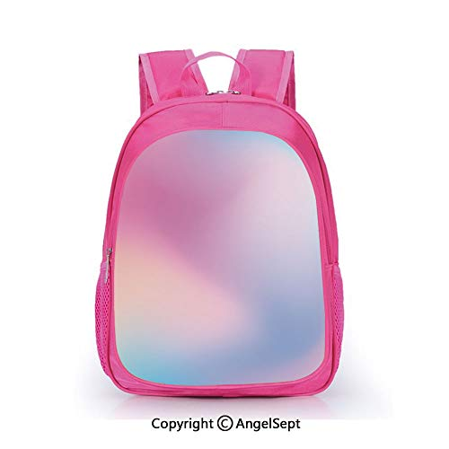 Custom Kid's Backpack Waterproof Cartoon Picture,Abstract Blurry Colors Composition Sweet Daydream Fantasy Miscellaneous Decorative Pink Aqua Peach White,15.7inch,School Bag For Unisex Kids ()