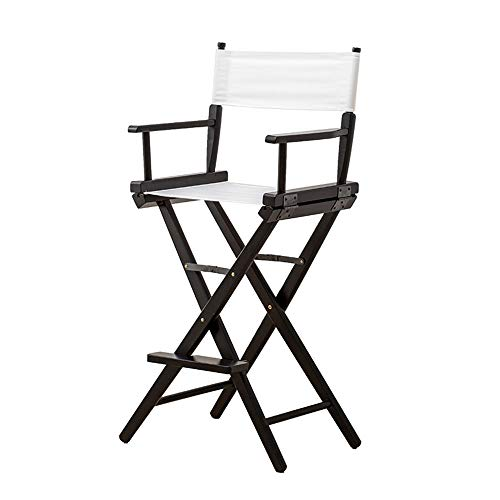 (DEI QI Portable Folding Chairs Wood Canvas Director's Chair High Back Seat Foldable Chair Leisure Makeup Chair (Color : White a))