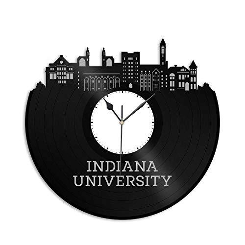 (VinylShopUS - Indiana University Vinyl Wall Clock City Skyline Souvenir Best Gift for Student Home and Office | Room Decoration)