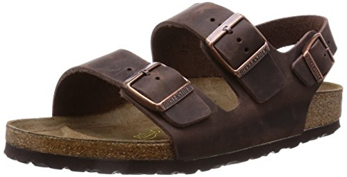 Birkenstock Unisex Milano Leather Sandals, Habana Brown, 41 ()