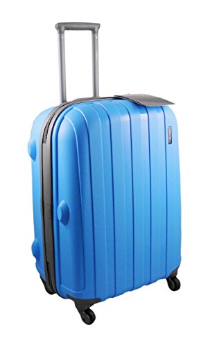"""'Luggage X' - 66cm (26"""") BLUE Hard Sided Polypropylene Lightweight Trolley Suitcase - NEXT DAY DELIVERY*"""