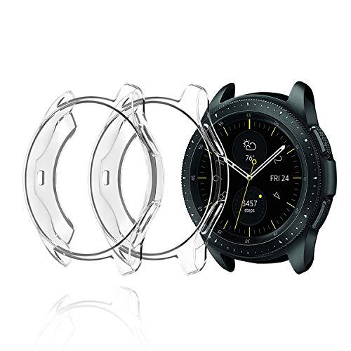 2 Pcs Hagibis Protection Case Compatible Samsung Galaxy Watch 46mm SM-R800 / Samsung Galaxy Watch 42mm SM-R810, Transparent Clear (46mm Transparent Clear)