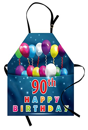 Ambesonne 90th Birthday Apron, Joyful Surprise Party Mood with Best Wishes Balloons and Swirls Age Ninety, Unisex Kitchen Bib Apron with Adjustable Neck for Cooking Baking Gardening, Dark -