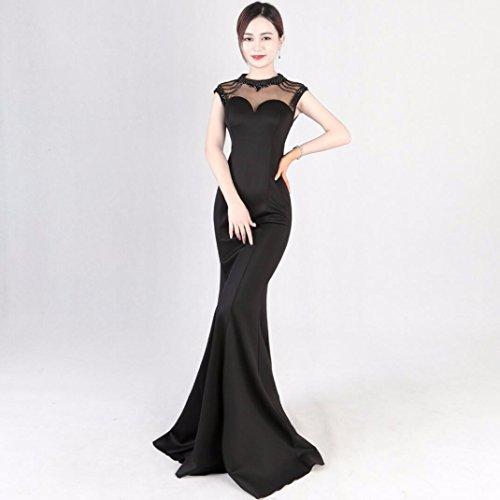Vestido Banquetes de Largo Cola WBXAZL Slim Pescado Hostess Black Fashion Vestido Show CwX8q