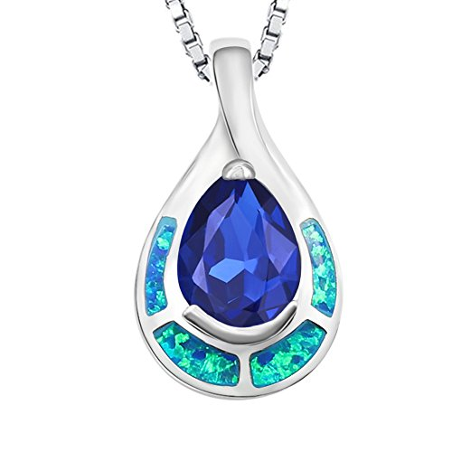 (Women's White Gold Plated Alloy Blue Sapphire Created Opal Inlay Solid Silver Teardrop Pendant)