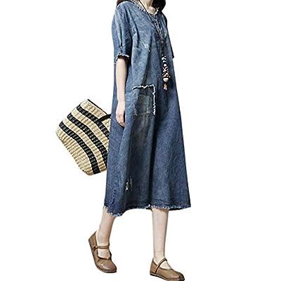 Shoieor Nuevas Mujeres Sueltas Vestido de Mezclilla Casual Mangas Cortas o-Cuello Split Jean Midi Vintage Dress Azul,¡Nada es Imposible! (Color : Blue, tamaño : XL): Hogar