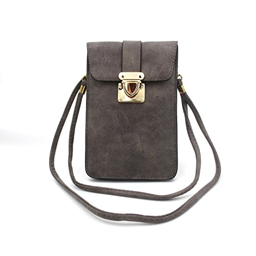 Mini Crossbody Shoulder Travel Purse Matte PU Leather Single Bag Cellphone Pouch Wallet Case for iPhone X 8 7 6 Plus 5S 4 Samsung Galaxy S6 S5 S4 Huawei Grey