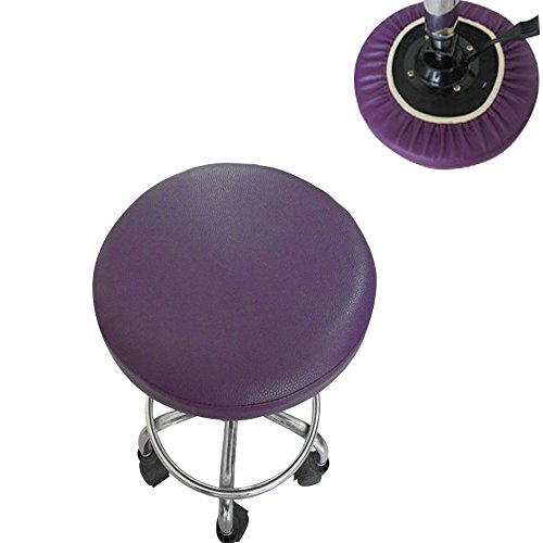- BAR Stool Cover for Kitchen Pub Exam Office - Easy Slip ON - Vinyl Replacement Seat Top with Extra Thin Padding & Elastic Band (16 inch Diameter, Purple)