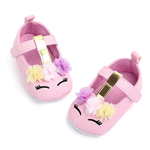 Baby Soft Sole Leather Crib Unicorn Shoes Infant Toddler Pre-Walker Shoes 0-6months(4Pink11cm) -