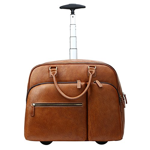 Leathario Leather Luggage travel duffle bag weekend overnight bag rolling suitcase (Weekend Briefcase Bag)