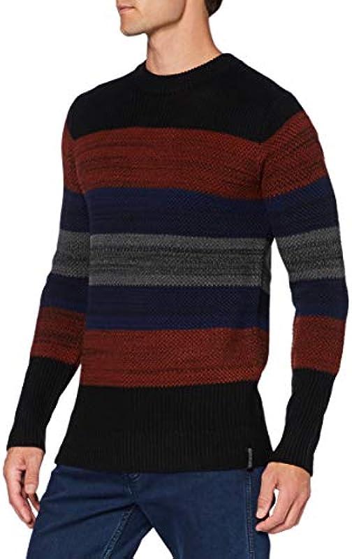 Scotch & Soda Męskie Bunter Strickpullover aus Woll-Baumwollmischung Pullover Sweater: Odzież