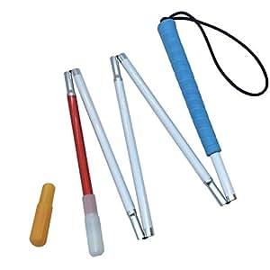 Aluminio Bastón Blanco para Ciegos y Baja Vision Plegable 5 Secciones con 2 Punta (Mango de Azul, 115 cm (45.3 Pulgada))