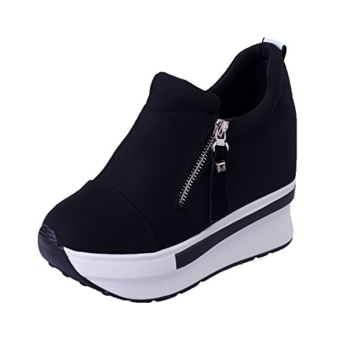 haoricu Sports Shoes Women Wedges Boots Platform Shoes Slip On Ankle Boots Fashion Casual Running Hiking Sneakers (US:7.5, Black 1) Black Silk Elastic Footwear