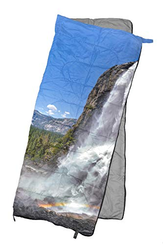 REVALCAMP Lightweight Sleeping Bag - Waterfall-1 - Indoor & Outdoor use. Great for Kids, Teens & Adults. Ultra Light and Compact Bags are Perfect for Hiking, Backpacking, Camping & ()