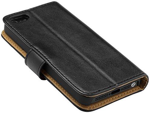 mumbi Ledertasche im Bookstyle für iPhone SE 5 5S Tasche schwarz