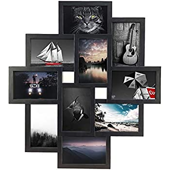 Edenseelake Collage Picture Frames 10 Openings 4x6 Collage Photo Frame Wall Mounting, Glass Front