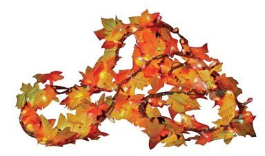 Sylvania Fall Color Lighted Leaf Garland Clear 9 ft by Sylvania