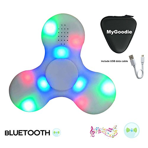 My Goodie LED Light MINI Bluetooth Audio Fidget Hand Spinner Music Speaker,Perfect For ADD,ADHD,Autism and Pressure Relief Killing Time Finger Toy (White)