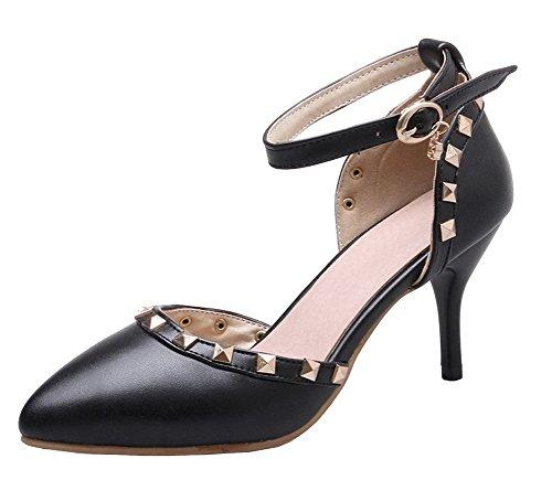 ea893967a7eeba AgeeMi Shoes Damen Schnalle Rein PU Hoher Absatz Spitz Zehe Pumps Schuhe  Schwarz
