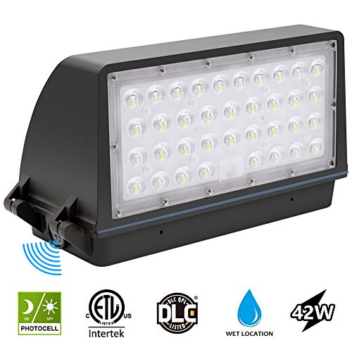 Waterproof Replacement - CINOTON LED Wall Pack Light, 42W 5040 Lumen, 5000K Dusk to Dawn Photocell Outdoor Wall Light, Waterproof IP65 Commercial Lighting Fixture, 125W-500W HPS/MH Replacement, ETL DLC List 5-Year Warranty