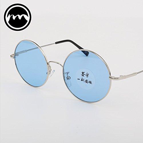 Gafas Hombre Redondo Memoria sol Color Metal Gafas blue Gafas Ultraligero de sol Azul Mujeres Polarizadas Transparente VVIIYJ de vq1tXw7